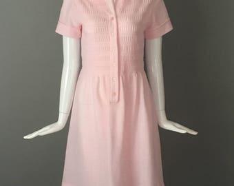 Super Cute Vtg 70s Bleeker Street Pink Poly Flare Skirt Dress Indie Mint Condition M