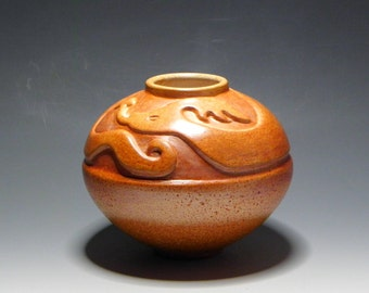 Art Pottery Water Serpent spirit Vessel Handcarved Ceramic Pottery/HomeDecor