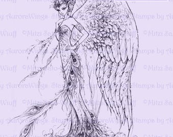 Digital Stamp - Instant Download - Peacock Queen - Glamorous Fairy with Feathers - Fantasy Line Art Digi for Arts and Crafts - AuroraWings