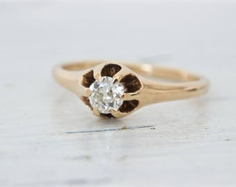 Victorian Engagement Ring | Antique Diamond Ring | 14k Rose Gold Ring | Gemstone Solitaire Ring | Belcher Ring | Mine Cut Diamond | Size 6