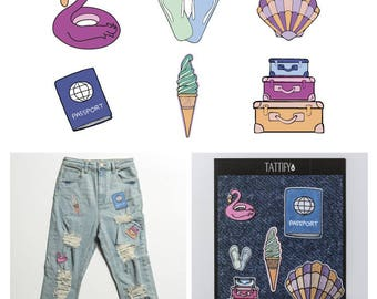 Summer Road Trip Items Embroidered Sticker Patch Set Good Gals Collection