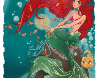 Ariel and Flounder from the little Mermaid Poster