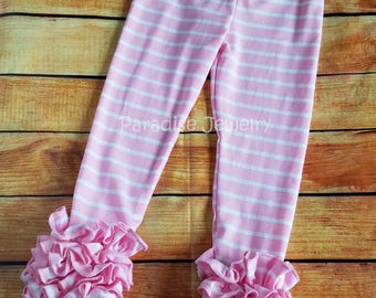 Pink White Stripe Ruffle Leggings Easter Bunny Girls Clothing Spring Toddler Little Girls Soft Cotton Triple Ruffle Stripe Layering Pants