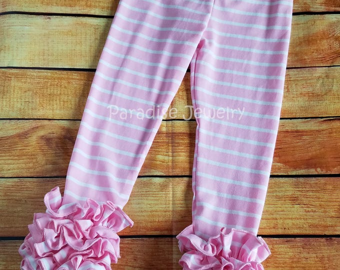 Featured listing image: Pink White Stripe Ruffle Leggings Easter Bunny Girls Clothing Spring Toddler Little Girls Soft Cotton Triple Ruffle Stripe Layering Pants