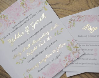 Blush Pink Gold Foil Floral Wedding Invitation