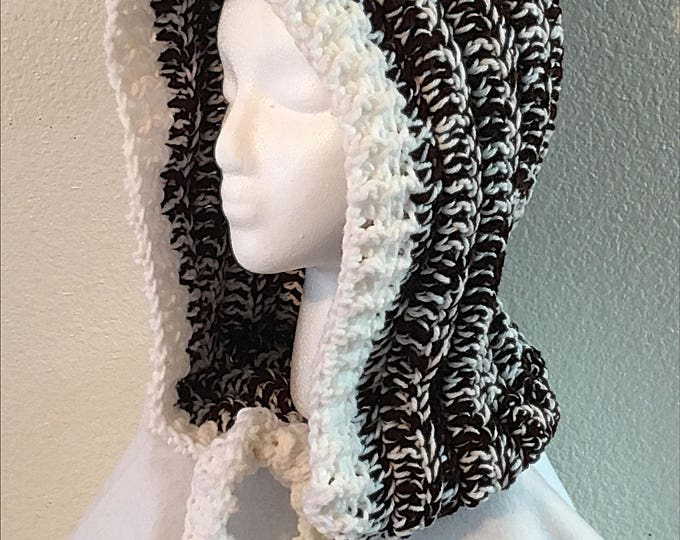 Crocheted Hooded Hat- Hoodie-Pom Pom Hat- Winter Headgear-Women's Hats-Brown and White