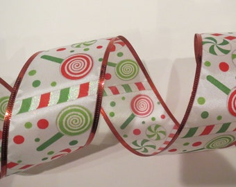 "Christmas Ribbon, Lollipop Ribbon , 2.5"" x 10Yds, Wired, Wreath Supply, Wreath, Bow Ribbon, 526122, Q2"