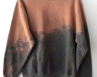Gray crewneck sweatshirt, Dip dye sweatshirt, acid wash crewneck sweatshirt, graphic, rocker, retro, sweater