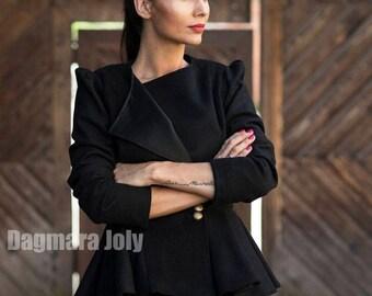 women slim fit  blazer , black jacket, peplum jacket, office wear, business clothes, black blazer, puff sleeves peplum jacket