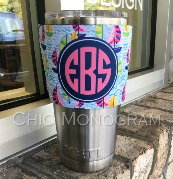 Christmas Gifts for Co-Workers Monogram Insulator Sleeve for Yeti Tumbler 20 Oz or 30 Ounces Lowball or Rambler Bottle Custom Yeti Tumbler