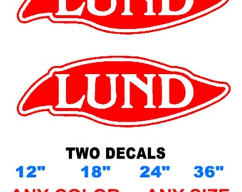 "LUND boat stickers decals "" any color""  "" any size "" PAIR"