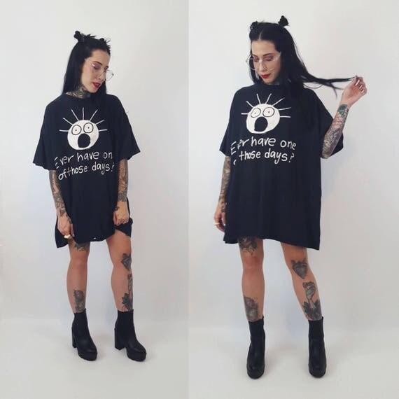 90's T-Shirt Cranky Humor XL Plus Size - Funny Rude Gag Tee Typography Plus Size Grunge Humor Kooky - Current Mood - Rude Girl Baggy Tee