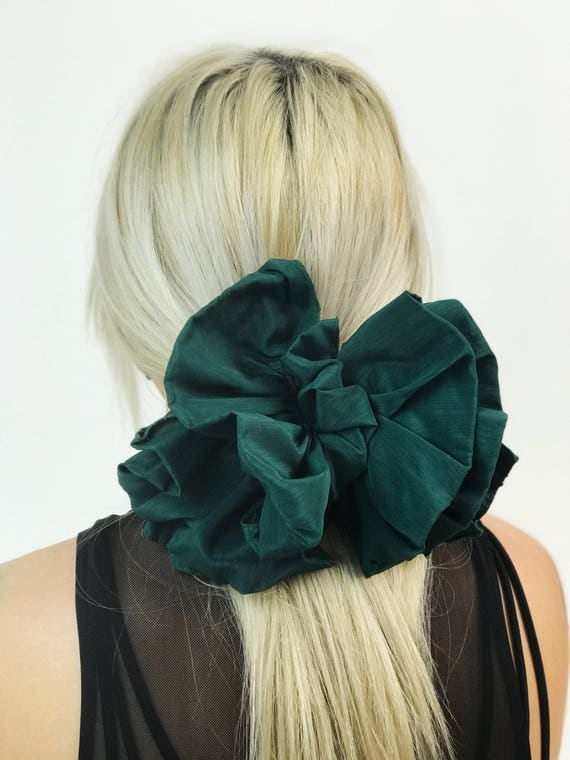 90's Dark Green Giant Bow Clip - Statement Bow French Clip Hair Barrette - Basic Hair Bow Clip Hipster Nineties Grunge Accessory Big Bow