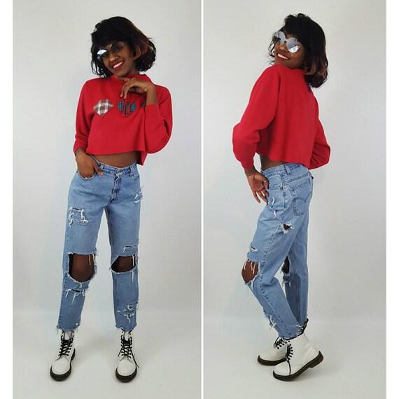 Size 8 High Waist 90's Light Wash Levi's Shredded Jeans Small Medium Blue Jean Cropped Denim - Highwaisted Mom Ripped Knee Holey Grunge Jean
