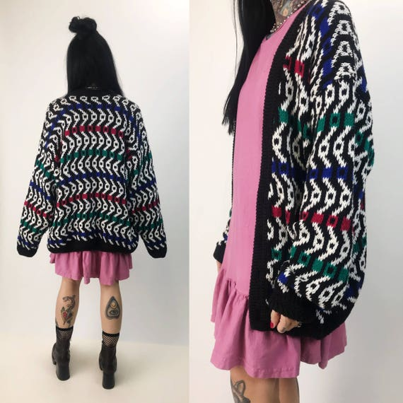 Vintage Colorful Knit Cotton Cardigan Sweater Medium - 80's V-Neck Grandpa Cardigan Allover Pattern - Multicolor Slouchy Soft Button Up Knit