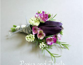 """Purple Real Touch Tulip Boutonniere, Fuchsia Waxflower and Ivory Queen Anne's Lace, Silk Wedding Flowers, Groom, """"Embrace"""""""