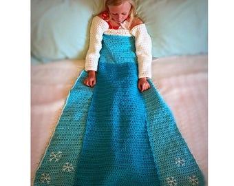 Elsa Crochet Princess Dress Blanket PATTERN