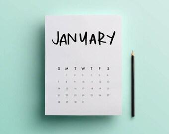 Printable 2018 Calendar Hand Lettered // Instant download, Hand Lettered Calendar
