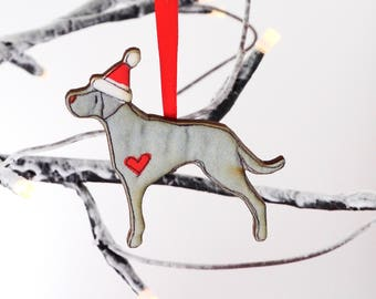 Weimaraner christmas decoration dog ornament - Weimaraner WOODEN dog lover gift - weimaraner tree decoration - christmas bauble