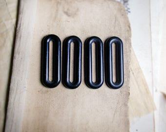 Vintage Plastic Links - 4 Large Black Plastic Oval Links - 48mm x 16mm - Lightweight Long Oval Plastic Link Rings for Assemblage Jewelry