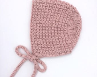 Inga Knitted Baby Bonnet in Pink