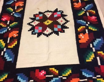 Vintage Mexican Woven Wall Hanging Rug Large Border Multi Colored Star