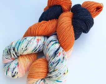 Ghoulish Rumpus, hand dyed yarn, Halloween sock yarn, stellina sock yarn, indiedyed yarn, hand dyed sock yarn, rainbow sock yarn