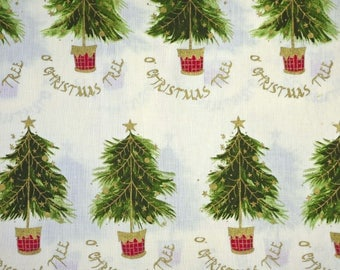 1/2 YARD, COTTON PRINT, Green Trees Gold Decorations Natural White, Quilting or Craft Fabric, O Christmas Tree, B12