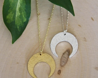 Crescent Moon Necklace / Crimped Moon Necklace /  Dainty Moon / Silver/ Gold/ Moon Necklace/ Moon Jewelry/ Celestial / Pagan / Witch / Hippy