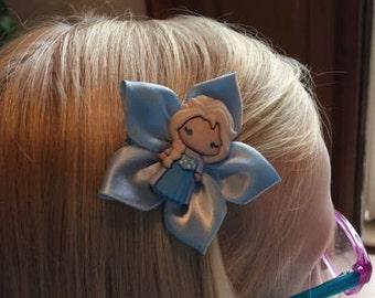 Frozen Hair Clip/ Hair Bow, Disney, Kanzashi, Anna, Elsa, Olaf, Snowflake