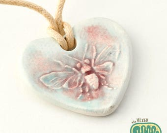 Heart-shaped honey bee pendant necklace, gift for beekeeper