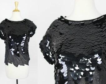 Vintage Black Sequin Blouse Paillette Top Size Small Sheer Mesh