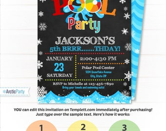 Pool Party Invitation - Swimming Pool Birthday Party - Winter Pool Party  - Winter Pool Invitation - Winter Swimming Party Supplies