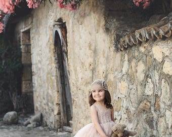 Beige Halter Tutu dress. Flower Girl Tulle Dress with Lace Stretch Crochet Bodice