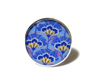 BLUE RESIN RING - geometric Pattern - blue earrings - boho Earrings - vintage rings - Ethnic rings - retro Earrings