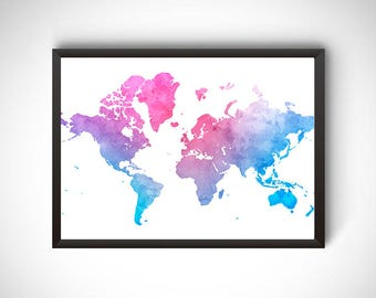 World Map Printable Poster Travel Wall Decor Water