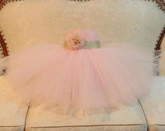 Tulle & Lace Tutu Flower Girl Dress - An Ivory, Pink, White Dress, Chiffon Flower Accent, Baptism, Pageant - The Madeline Dress
