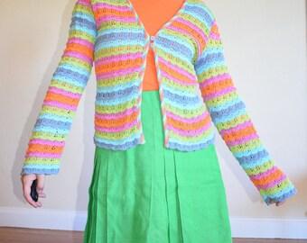 90's Rainbow Crocheted Cardigan