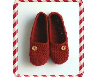 Red Slippers Crochet Slippers Women's Slippers Christmas Red Slippers Slip On Slippers Handmade Gift Dark Red Slippers Stocking Stuffer