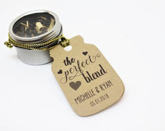 Perfect Blend tags, Wedding favor tags, Coffee favor tags, Tea favor tags, Kraft paper tags,Wedding gift tags,Printed Wedding thank you tags