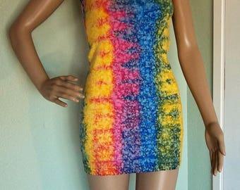 Vintage TIE DYE Tank Dress Multi Color S / M 1980s Mini Dress Body Con IN Gear Brand Splatter