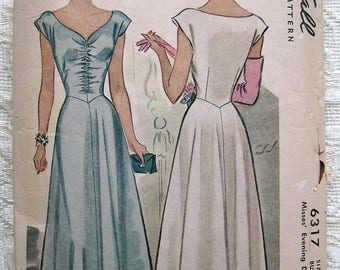"""Vintage 40s Evening Gown with Center Ruching Cap Sleeves. McCall 6317 Sewing Pattern. Size 16,  Bust 34"""""""