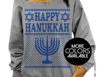 HAPPY HANUKKAH, Women's Clothing, Off the Shoulder, Oversized, Slouchy Sweatshirt, Ugly Hanukkah Sweater, Chanukah, Jewish Holiday Party