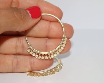 Hammered Gold Vermeil Shaker Hoop Earrings