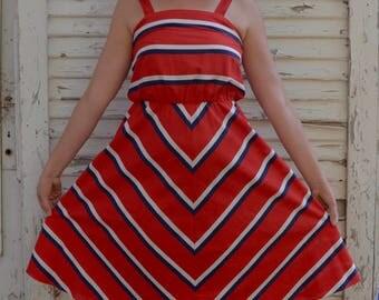Vintage Red White and Blue Patio Dress Patriotic Uniform America USA 1950s Geometric Lines; FREE Shipping U.S.A.