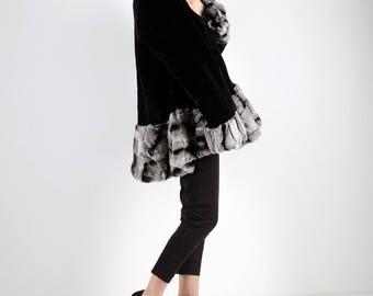 Real Fur Canadian |Black & White Trim Coat
