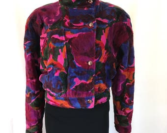 1980's Ungaro Quilted Cotton Velvet Cropped Jacket sz. 40
