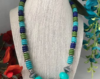Turquoise and Multi-color Howlite Necklace