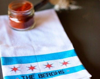 Chicago Flag, Chicago Kitchen Towel, Chicago Flag Housewarming Gift, Chicago Tea Towel, Home Gift, Kitchen Gifts, Chi-Town