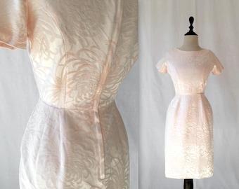 1950s floral embossed satin dress